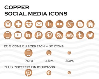 Social Media Icons 60 Copper - Instant Download