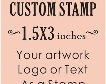Custom Logo Stamp, Custom Rubber Stamp, Business Card Stamp, Personalized Stamp, Custom Stamp1.5x3 inches