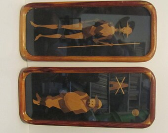 Handmade wooden frame with  thin Wood Folk Art of Don Quixote and Sancho Panza