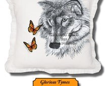 IRON ON Transfer, digital download,  Black and White Wolf, Butterfly, Lana Bouchard, Bedroom Art, Cottage Country, Decorating Gift Ideas