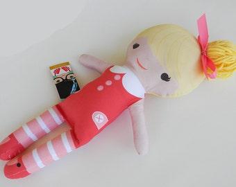 Organic Cotton Stuffed Handmade Girl Doll Lindsey