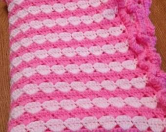 Pink Crocheted Baby Blanket