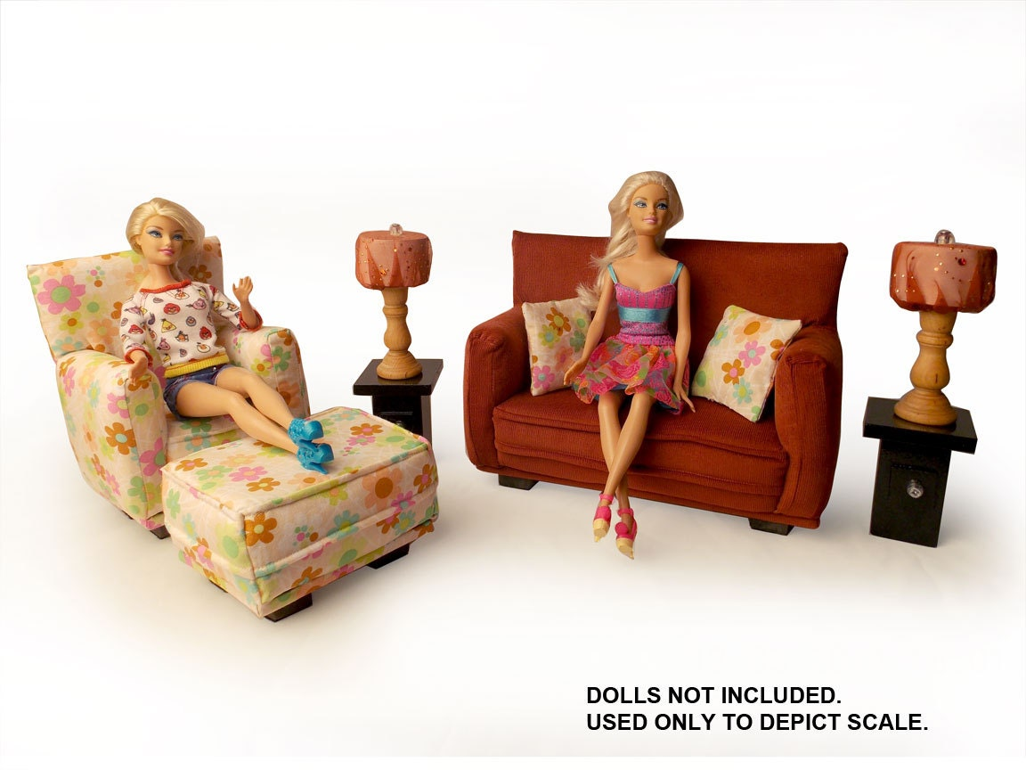 Barbie Doll Living Room Furniture 9 PC Play Set   1:6 Scale Rust And Pink  Flower Print   Works Also With Any Blythe And 11 Inch Fashion Doll Part 84