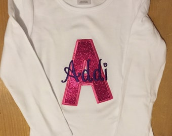 Purple and Pink Glitter Initial Shirt or Baby Bodysuit