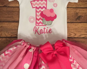 Shades of Pink Birthday Cupcake Tutu Outfit