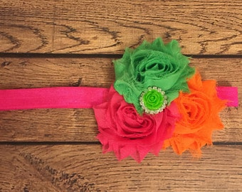 Hot pink, lime green, and orange shabby flower trio headband