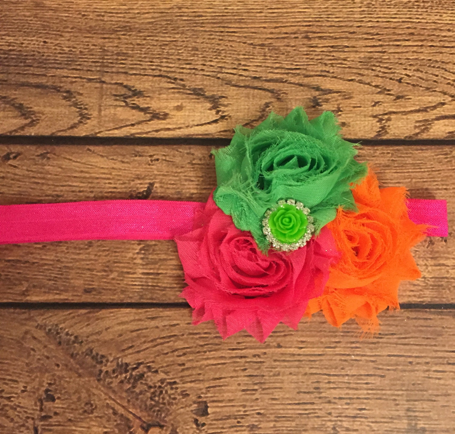 Hot Pink Lime Green And Orange Shabby Flower By