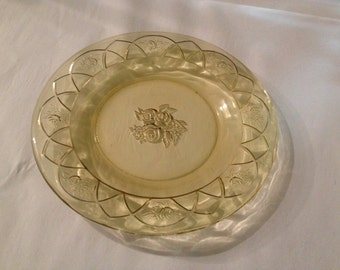 Antique Federal Glass ROSEMARY Amber Salad Plate 6 3/4 in