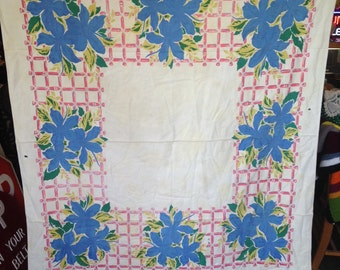 Vintage Screen Printed Tablecloth