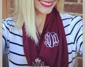 Monogrammed Maroon Game Day Scarf