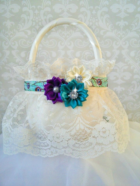 How To Make A Lace Flower Girl Basket : Peacock ivory lace flower girl baskets wedding