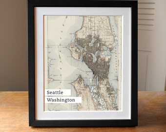 Seattle Map Art, Seattle Old Map, Antique Seattle Map, Map Print, Washington State
