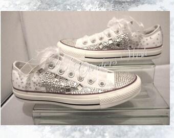 Crystal Converse Low rise  / Wedding converse / bridesmaid converse / customised converse / lace converse / sparkle / delicate / romantic