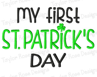 My First St. Patrick's Day Shamrock Machine Embroidery Design 4x4 5x7 INSTANT DOWNLOAD
