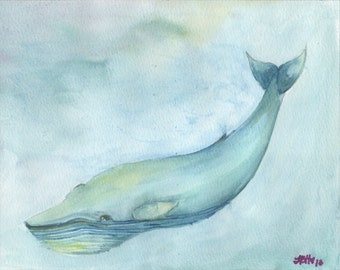 Whale Watercolor Nursery Print, 5x7