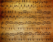 Music Throw Blanket  - Sheet music blanket throw  - Antique look - aged, brown,  decor,  cozy gift