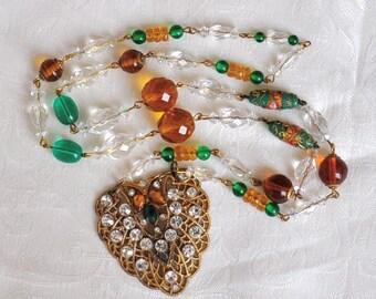 OOAK Vintage Assemblage Necklace, All Vintage Components