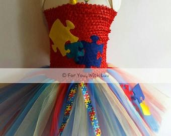 Autism awareness girls tutu dress and headband set, Pageant outfit,  Puzzle Piece, Autism Awareness tutu dress, girls dance dress