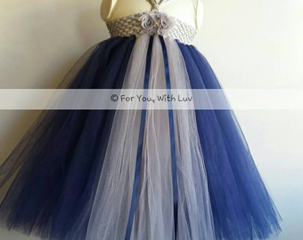Gray / silver and Navy blue flower girl dress, birthday dress, princess dress, special occasion dress.