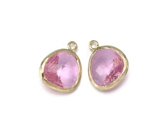 Pink Glass Pendant . Jewelry Craft Supplies . 16K Polished Gold Plated over Brass  / 2 Pcs - AG001-PG-PK