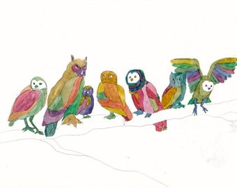 Owls 2- Print by Denise Walter