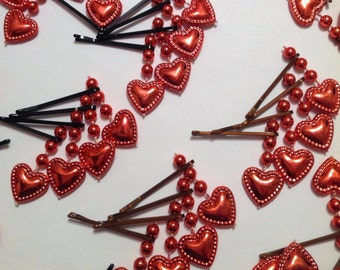 Beard Art Baubles Valentine's Day Hipster Gift Set of 8 high Gloss Hearts on a String Ultra Mini Pins
