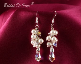 Georgous  Pearl and Crystal Drop Earrings. Bridesmaids Gift White Ivory with Made with CRYSTALLIZED™ - Swarovski Elements