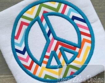 Peace Sign Appliqué embroidery Design - Peace Appliqué Design - 60's Applique Design - girl Applique Design