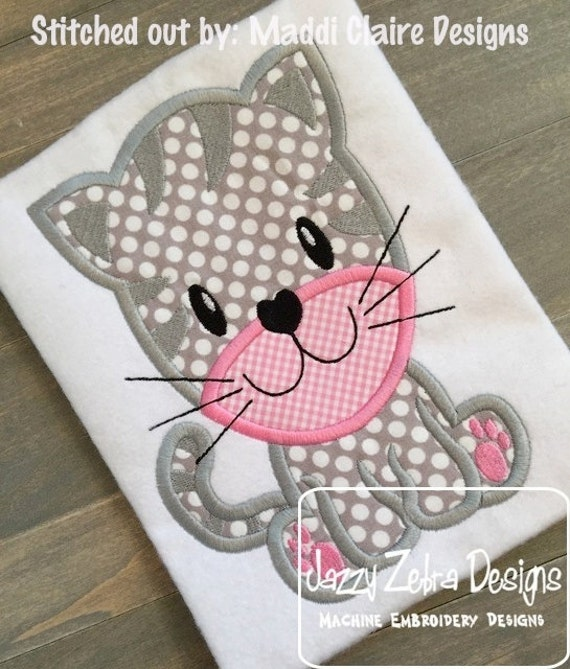 Kitten 53 Applique embroidery Design - cat Appliqué Design - kitten Applique Design