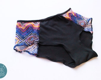 Hipster Panties. Aztec, Black Blue, Lace, Hanmade lingerie, ready to ship