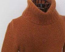 Mustard Brown Mohair Sweater Italy Warm Turtleneck Sweater Womens Mohair Sweaters Fuzzy Brown Womens sz S Petite Clothing