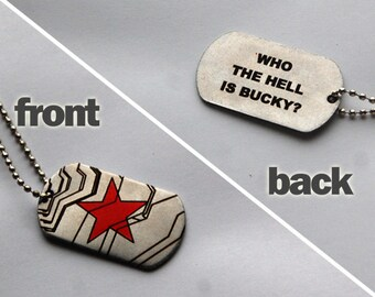 """Winter Soldier dog tags (""""Who the hell is Bucky?"""" lettering)"""