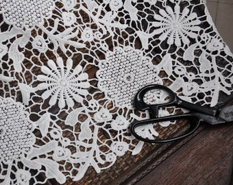 "Lace Fabric White Water Soluble Fabric Flower Wedding Fabric 47.24"" width 1 yard"