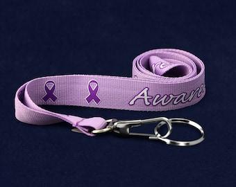 Awareness Purple Ribbon Lanyard (RE-LAN-4AW)