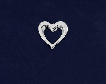 25 Small Silver Open Heart Tac Pins (25 Pins) (P-01S-HRT)