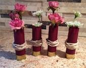 Burgundy Wedding shotgun shell boutonniere