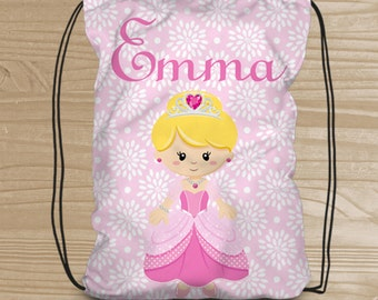 Personalized Drawstring Backpack for Kids - Princess Backpack for Girls - Princess Fabric Bag - Pink Princess Drawstring Backpack