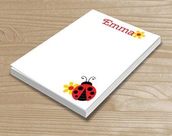 Personalized Kids' Notepad - Ladybug Notepad for Girls - Ladybug Note Pad - Custom Ladybug Notepad with Name - 3 Sizes Available