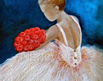 Ballerina art, ballet artwork, canvas ballerina print, dancer painting, Original artwork by Nancy Quiaoit at NancyQart.