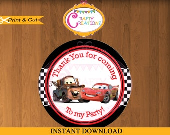 Disney Cars Favor Tag or Label - Printable Cars Birthday Party Favors- Sticker-Thank You Tag- Gift Tags-INSTANT DOWNLOAD-CraftyCrearionsUAE