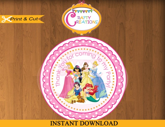 instant download disney princesses favor tags
