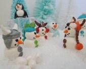 Miniature Snowmen:  Viking and his Dragon Companion, Fox, Penguin, Rudolph, Bunny Fairy Garden, Cake Topper, Terrarium, Miniature Christmas