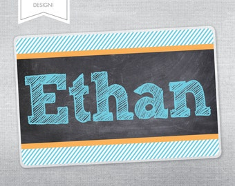 Personalized placemat for kids. Chalkboard placemat.