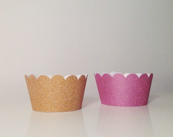 Gold and Pink Glitter Cupcake Wrappers - Set of 12 - Perfect for Birthday Parties & Weddings