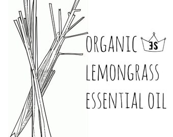 Organic Lemongrass Essential Oil - Pure Lemongrass Oil - Organic Essential Oil - Pure Essential Oils