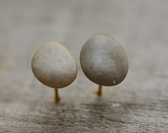 Grey raw stone earrings, simple button ear studs, gift for her