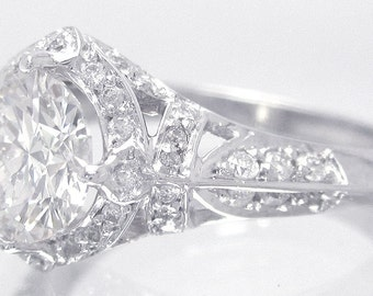 14k white gold round cut simulated diamond engagement ring halo deco 1.75ctw