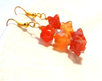 Carnelian earrings, Tangerine earrings, Orange earrings, Gold earrings, Gemstone earrings, Red earrings, Quirky earrings, Summer earrings