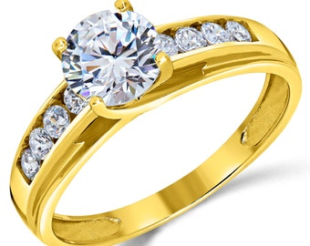 14K Solid Yellow Gold Round Cut CZ Cubic Zirconia Solitaire Engagement Ring