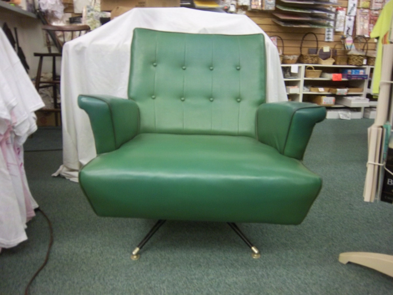 Vintage Mid Century Modern Gaines green teal VINYL Swivel Rocker Lounge Chair